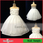 Selling best lovely tulle spaghetti strap white flower girl dresses