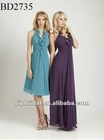 chiffon halter white and purple bridesmaids dresses