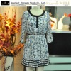 2012 new style beautiful check dresses,3 quarter sleeve ,print round neck dress