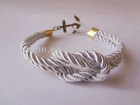 Hand-knotted anchor bracelet custom cotton bracelet fashion accessories cotton bracelet with steel hook