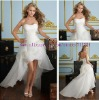 Free Shipping Organza Front Short and Long Back Wedding Dress