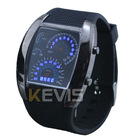 Cool RPM Turbo Blue Flash LED Car Meter Dial Watch Men's Sports