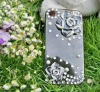 hand made crystal hard cell phone case,i phone 4/4s beaded case