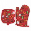 Cotton Christmas Pot holder and Oven mitt