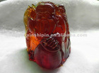 Rare Red Brown Burmite Amber statue Carved Decoration