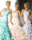 mermaid style sloping one shoulder optional color good pleated working long train prom dress
