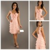 Chic and Glamorous Short Ruched V-neck Bodice Knee Length Homecoming Dresses