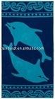 100% cotton velour printed beach towel-fish design