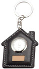 2012 House shape PU Leather keychain with clock