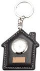 2012 House shape PU Leather keychain with clock