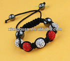 XG-OLK0325 Dazzling Gift! White&Red Crystal Disco Ball Lovely Children Shamballa Bracelets