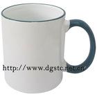 11oz Ceramic Sublimation Coated Color Rim Mug (Dark Green)