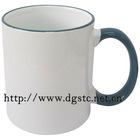 11oz Ceramic Sublimation Coated Color Rim Mug (Dark Green)