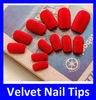 Fashion Plain Blood Sex Red Party Bar Fake Velvet Nail Tips Decoration