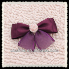 elegant purple organza ribbon bow with pearl embellishments