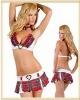 4pcs Red-tartan School-girl Sexy Uniform