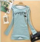 Fashion Hot Sale Letter Printed Cotton T-shirt Pea Green ZX12092716