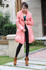 Lady rabbit hair collar Medium Down Coat