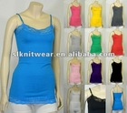 ladies or girls basic crew Neck solid color lace Ladies Camisole