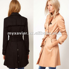 Stretch Fabric double breasted cut Women's Coat