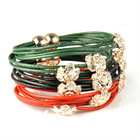 rope real leather bracelet with 3 bling flowers charm,magnet closure ,BR-1400