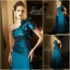 JM0176 One-shoulder new design ruffled cyan mother's dress