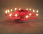 Musical rotating flower shap birthday cake fireworks