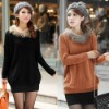 Fashionable latest warm popular sexy laides winter knitted sweater