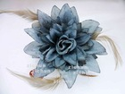 Feather Glitter Silk Flower Hair Claw Clamp Hair Ornament