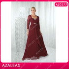 AZ0577 3-4 Quarter Sleeve Rhinestones Ruffle Floor-length Ruffle Red Chiffon mother of the bride dress with sleeves