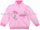 Child winter french terry zipper up cartoon coatF1269#Pink