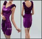 Mini V-Neck Sheath Satin Grape Party Dress