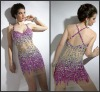 Free Shipping Spaghetti Strap Mini Sexy Cocktail Dress Evening Short with Crystals