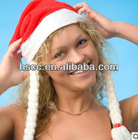 Unique Design Red Women Christmas Hats with Two White Braids