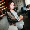 FYT0206 Korea style lady fashion leopard stitching leather jacket