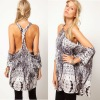 Ice Print Extreme Cold Shoulder with halter kaftan top