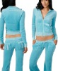 80%cotton 20%polyester lady fitting velour suit