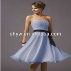 Sleeveless Pleated Black Ribbon Short/Mini Chiffon Patterns for Bridesmaid Dress