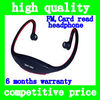 Hot Sell Wireless Sport MP3 WMA earphone Player Headset Headphone with Micro SD TF Card Slot Reader + FM Radio