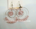 hoop ear ring with light pink prismatic beads
