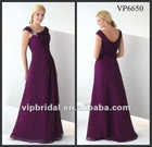 Hot sell deep purple chiffon beaded floor length mother of bride dress