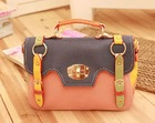orange cute Zipper PU tote Bags For Women