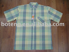 Men's Yarn dyed plaid casual short sleeve shirts