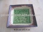 Square Crackled Ceramic Plate