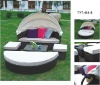 All-weather alu-frame and PE-rattan sunbed with cover for outdoor