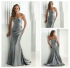 Hot Sale Wholosale Price Strapless Handmade Beading Silver Color Ready Made Prom Dresses