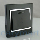 250V 10A 2012 New Design Black Crystal Glass Panel Big Button Doorbell Switch