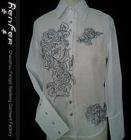 3-5# Vintage embroidery fashion ladies shirt