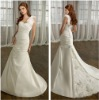 Sweet yet Cool A-line One Shoulder White Satin Hand Flowers Designer Bridal Dresses