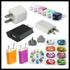 3 in 1 colorful usb cell phone chargers for UK EU USA